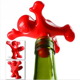 Wholesale Wine bottle stoppers plastic red happy man creative kitchen bar tools fit general wine bottles wine opener beer soda novelty bottle opener