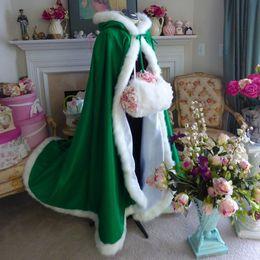 Cheap Green hot Pink Winter Wedding Gowns Cloak Cheap Wedding Bridal Wraps Jacket Fur Women Outside Coat For Mermaid Princess Bridal