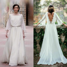 2017 Country Style Bohemian Wedding Dress A Line Boho Bridal Gowns Bateau Neck Bell Sleeves Lace Edge Backless Wedding Dresses