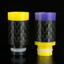 Colorful Carbon Fiber & Delrin Drip tips Flat Wide Bore 510 Drip tips fit RDA Atomizer high quality Newst Carbon Fiber Mouthpiece DHL Free