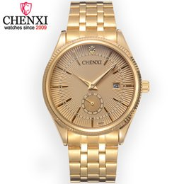 CHENXI Brand Calendar Gold Quartz Men's Luxury Hot Diamond Watch Gold Watch Male Rhinestone Geneva Watch Relogio Masculino