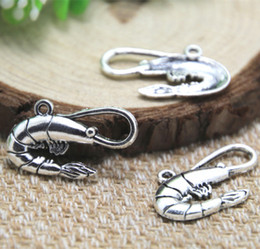 20pcs-Shrimp Charms, Antique Tibetan silver Shrimp charm pendants 28x16mm