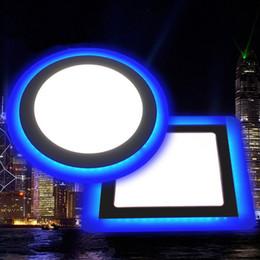 Скидка синяя панель Новое прибытие Двойные цвета Тонкий Тонкий утопленный панель светло-синий вне кольцо + белый / теплый белый 9w 16w 24w AC85-265V CE RoHS FCC TUV