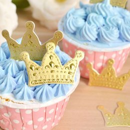 Princesa de la ducha de bebé de la magdalena online-50pcs / pack Oro Princesa Crown Cake Topper Favores Partido Cake Cupcake Picks Baby Shower Wedding Decoraciones de cumpleaños