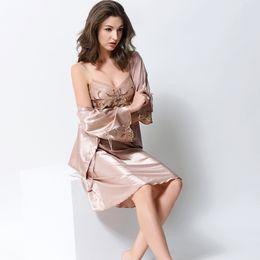 Women's Silk Nightgowns 2-Piece Robe Sets Sexy Emulation Silk Bathrobes Fashion Trend Female Sleepwear Nightdress 2703