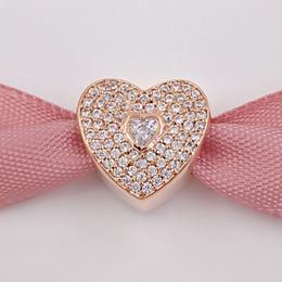 Corazón del oro de la pulsera 925 en Línea-Día de San Valentín 925 Corazones de plata de ley con corazón claro CZ encanto se adapta a Pandora estilo europeo Joyería Pulseras 781555CZ Rose Oro chapado