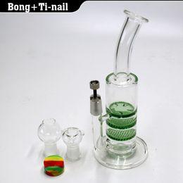 glass bong 3X Layer Honeycomb  tornado water pipe dab oil rig bongs with GR2 Titanium nail 4mm Quartz banger