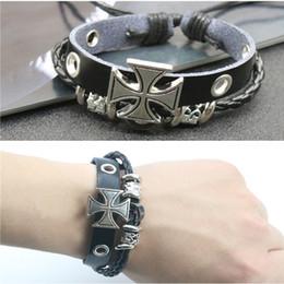 Fashion Men Leather Bracelet Alloy Silver Plated Cross Bracelet PU Woven Punk Rock Charm Bracelets For Boyfriend Gift