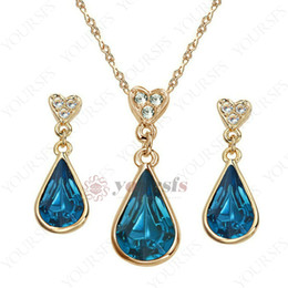 Yoursfs Luxury Blood Red Drop Pendant Jewelry Set Waterdrop Austrian Crystal 18 K White Gold Plated Statement Vintage Jewelry Set Women