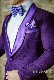 2019 Brand Purple Mens Floral Blazer Designs Mens Paisley Blazer Slim Fit Suit Jacket Men Wedding Tuxedos Fashion Male Suits (Jacket+Pant)