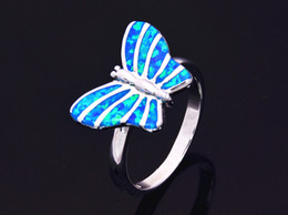 Wholesale & Retail Fashion Fine Blue Fire Opal Ring 925 Silver Plated Jewelry For Women EMT1517008