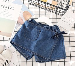 style denim enfant Promotion New Girls Summer Jeans Shorts Kids Pantskirt Lace Up Jeans Enfant Denim Shorts 13194