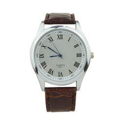 New Fashion Casual Designer Blue Red Color Roman numerals PU Leather Watchband Acrylic Quartz Wrist Watch