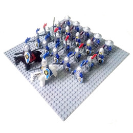 24pcs Medieval Rome Castle Knight Lion dragon sliver hawk knights Army weapon horse minifigure Building Block Brick accessory mini figures.