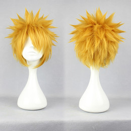 MCOSER Promotion High Quality Man 30cm Short Yellow Naruto Uzumaki Naruto Halloween Anime Wig