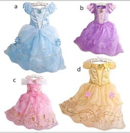 Wholesale PrettyBaby Belle Princess Dress Girl Rapunzel Dress Sleeping Beauty Princess Aurora Flare Sleeve Dress for Party Birthday in stock