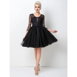 2017 Meilleure vente Robe de bal courte noir sexy A-ligne Bijou 3/4 manches longues dentelle Real Pictures Mini robes de soirée simple à partir de belles robes à manches courtes fournisseurs