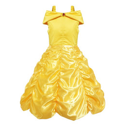 2017 Princess Kids cosplay costume girl yellow birthday party wedding dress for Christmas