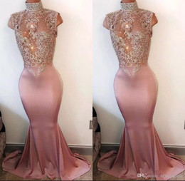 2019 Mermaid Pink Prom Dresses Long High Neck Pearls Sleeveless Lace-Appliques Crystal Beaded 2K17 Prom Gowns Evening Party Dress BA4598