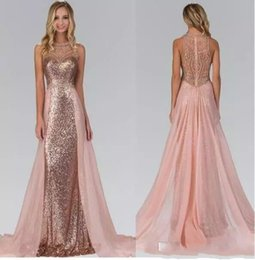 2017 Chic Rose Gold Sequined Bridesmaid Dresses With Overskirt Train Illusion Back Formal Maid Of Honor Wedding Guest Party Evening Gowns