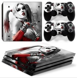 Cool Harley Quinn Full Set Vinyl Skin Sticker Decor Decals for Sony PS4 Pro Console Skin + 2 PCS Controller Cover Skin Stickers