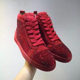 Acheter en ligne Rouges à semelles chaussures habillées-[Avec Box, Real Photo] chaussures strass chaussures Mode Red Sole Femmes, Haut Hommes Haut en cuir véritable Casual Party Dress chaussures de marche
