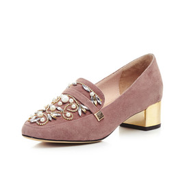Promotion taille 34 talon rose Perles Femmes pompes Couleur rose Real photos chaussures femme Cuir véritable Taille 34-39 Chunky plateforme 4.2 Chunky talons hauts Chaussure scolaire H830