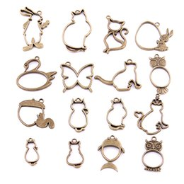Wholesale 16PCS Mixed Antique bronze Hollow butterfly rabbit cat owl Charms Pendant Jewelry Making Diy Charm Handmade Crafts H3006