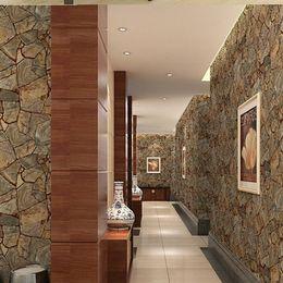 Wholesale Retro marble Vinyl Imitation Stone Brick Grain papel de parede d Wallpaper Wall Decor For Living Room Bathroom Wallcovering