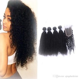 Wholesale Curly Hair Extensions Bundles Virgin Remy Hair Cheap Human Hair Weaves 4pcs 400g with Curly High Quality Lace Closure 4*4