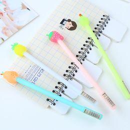 Wholesale Fruit pie gel pen mm black ink pens Kawaii apple pearl strawberry pineapple Stationery Office school supplies