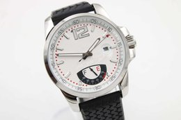 Descuento esfera blanca para hombre de los relojes automáticos Venta caliente a estrenar Miglia Gran XL Reserva de la energía Mens del acero inoxidable Reloj automático del dial blanco y correa de goma Relojes deportivos de los hombres