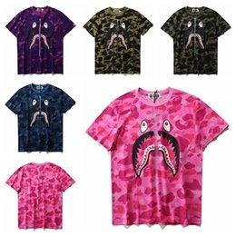 Camouflage Shark imprimé hommes à manches courtes Femmes 's Loose Round Tee T - shirt à partir de imprimé floral t-shirts femmes fabricateur