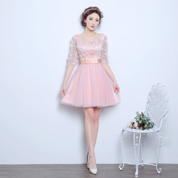 2017 New Evening Dresses with Half Sleeve Sweet Princess Girls Women Bride Gown Fashion Ball Prom Party Homecoming Graduation Formal Dress