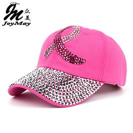 Promotion ruban rose sein Vente en gros - 2016 Nouvelle mode de soins de santé pour les femmes Breast Denim Coton strass Bonnet de baseball avec ruban rose Diamante B292