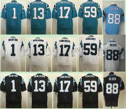 Wholesale 2017 Cheap Elite Cam Newton Kelvin Benjamin Luke Kuechly Greg Olsen Devin Funchess Blue Black White Stitched Football Jerseys