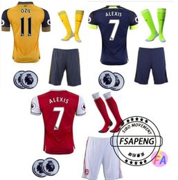 Wholesale 2016 Arsenals soccer Jerseys Away Yellow OZIL Football kit socks WILSHERE RAMSEY ALEXIS GIROUD Welbeck Full Shirts