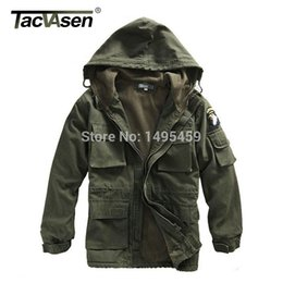 Wholesale TACVASEN Men Winter Military Jacket US Army AIR FORCE Thermal Trench with Hood Jacket Fleece Lining Military Coat BJQS
