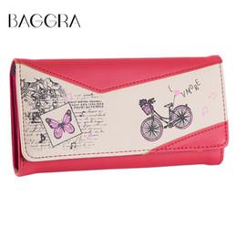 Wholesale BAGGRA Famous Brand Women Long Purse Handbag Press Stud Butterfly Print PU Leather Women Wallet Retro Lady Purse