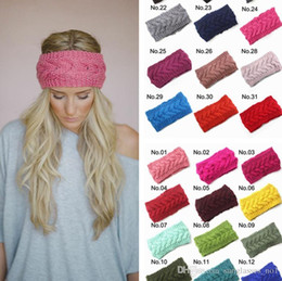Wholesale 31 Colors Crochet Headband Knit Hairband Flower Winter Women Girls Wrap Ear Warmer Head Wrap Band Hair Accessories PPA738
