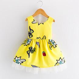 Princess Yu 2017 summer new Korean girl cartoon graffiti halter sleeveless dress princess yarn skirt