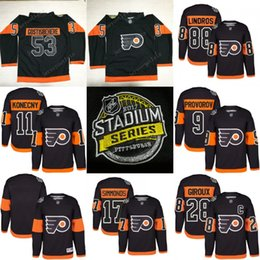 2017 Stadium Series Premier Jersey hommes Philadelphia Flyers 53 Shayne Gostisbehere 17 Wayne Simmonds 9 Ivan Provorov 28 Claude Giroux Hockey supplier hockey series à partir de série de hockey fournisseurs