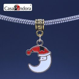 CasaPandora Golden Christmas Moon Shaped Santa Claus Pendant Fit Bracelet Charm DIY Enamel Bead Jewelry Making Pingente Berloque