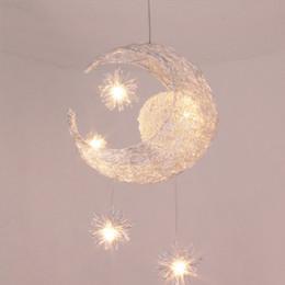 Wholesale Modern LED Moon Star Children Kid Child Bedroom Pendant Lamp Chandelier Ceiling Light Aluminum Pendant Light with G4 Bulbs