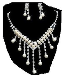 white crystal pearl wedding bride jewerly set necklace earings (88)