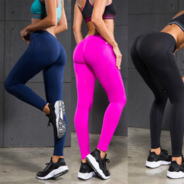 Promotion pousser les jambières de gymnastique Femmes Pantalons de yoga Sports Exercise Collants Fitness Running Jogging Pantalons Gym Slim Compression Pantalons Leggings Sexy Hips Push Up