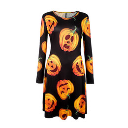 2017 Autumn and Winter New Halloween Party Popular Clothing European and American Pumpkin Printed Long Sleeve Dress