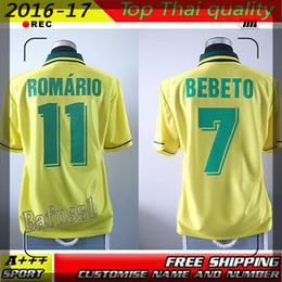 Wholesale Best Quality Velvet name number Retro jersey Brazil World cup Brasil bebeto Ronaldo Romario Brazilian shirt