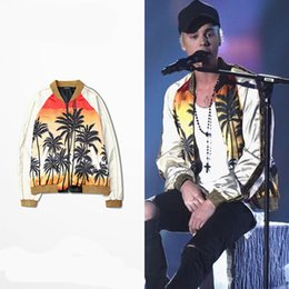 Wholesale Justin Bieber Printing Bench Long Sleeve Jacket Street Hip Hop Kanye Patchwork Jacket