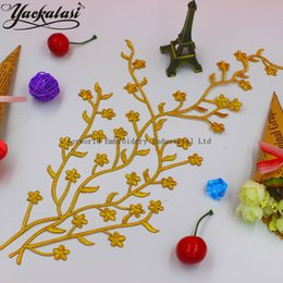 YACKALASI 10 Pieces Lot 3D Flower Appliqued Gold Embridered Patches Iron On Dress Trim 18-39cm 2 Pieces Lot